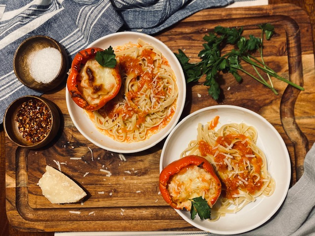 Chicken parmesan stuffed peppers with pasta