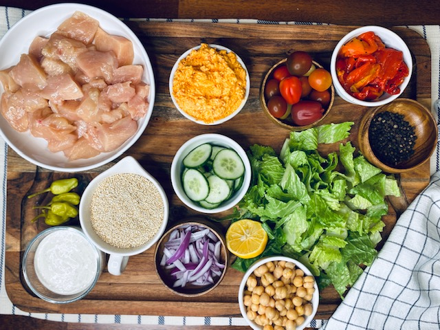 Mediterranean salad bowl ingredients