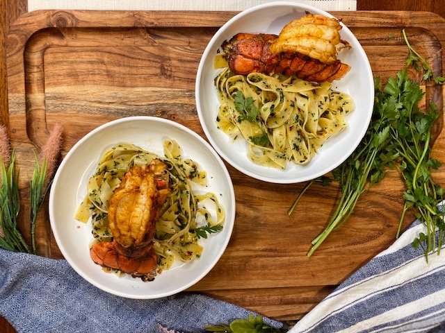 Lobster and pasta dish for two