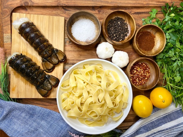 Lobster and pasta ingredients