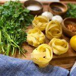 Spicy garlic pasta ingredients