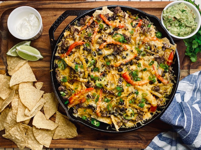 Nachos in cast iron skillet