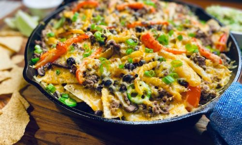 Nachos in a case iron skillet