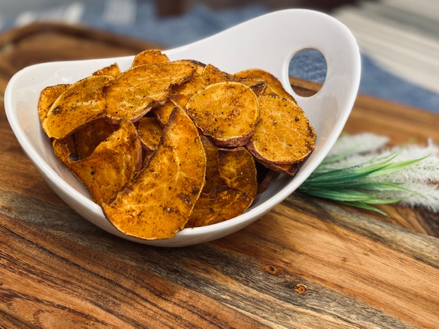 Sweet potato chips in bowl