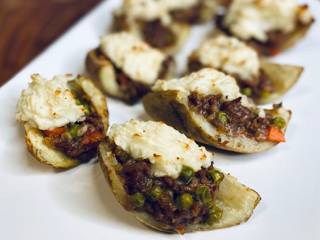 Potato skins filled with shepard's pie