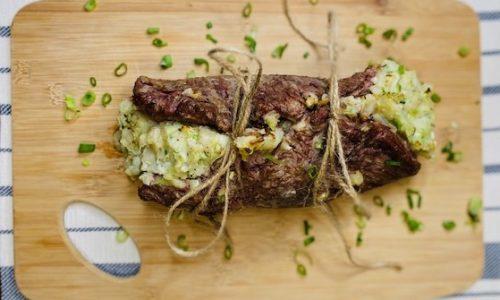 Steak stuffed with potatoes