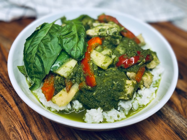 Thai green curry in a bowl