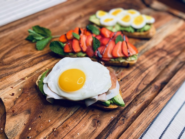 Avocado toast on a wooden board