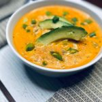 Buffalo chicken soup with avocado