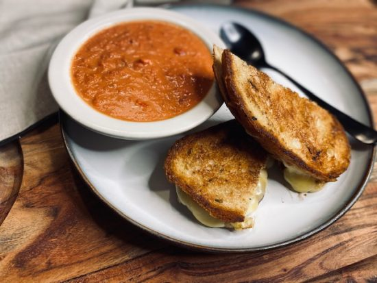 Marcella Hazan Tomato Bisque and Gouda Grilled Cheese
