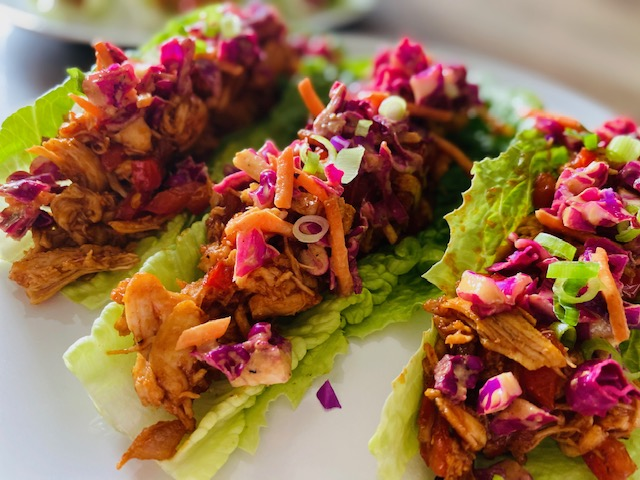 BBQ Chicken Lettuce Wraps side view