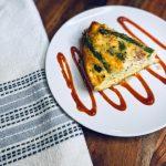 Asparagus and feta quiche slice