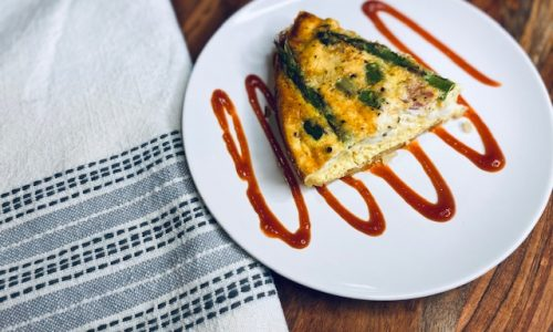 Asparagus and feta quiche slice