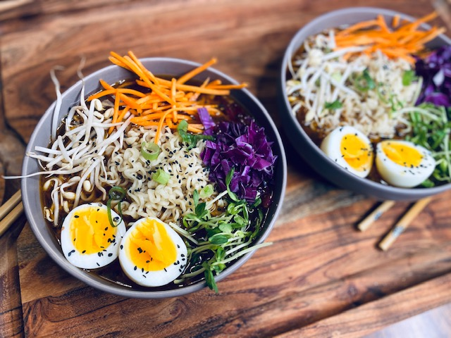 Ramen in a purple bowl