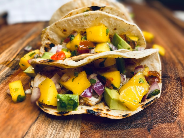 Mango salsa on fish tacos