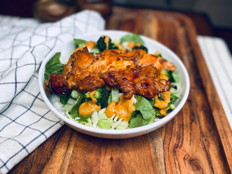 Sweet soy chicken with greens