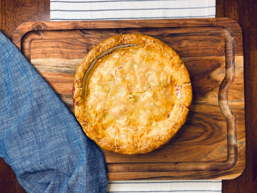 Pot pie on a wooden board