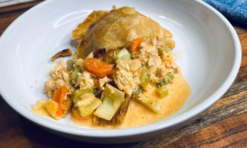 Buffalo chicken pot pie in a white plate