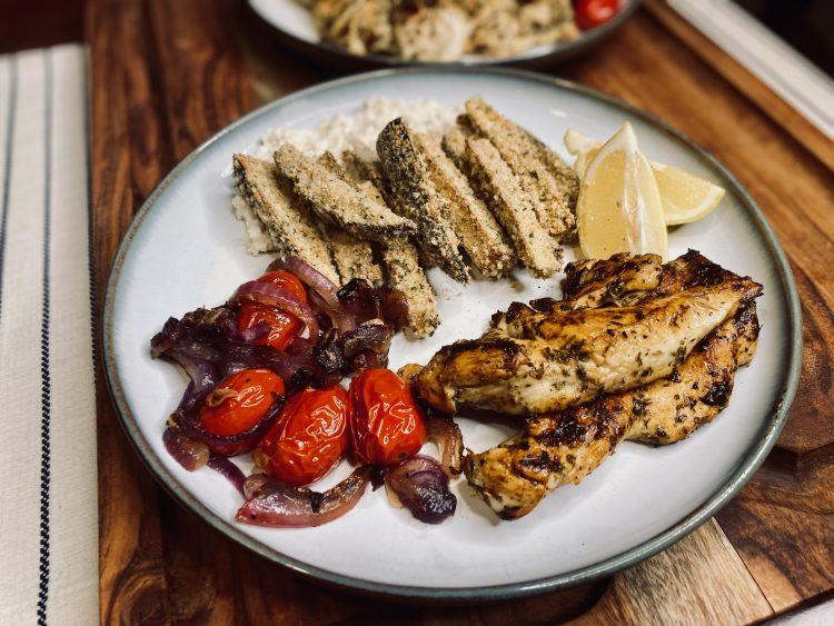 Mediterranean chicken with eggplant fries