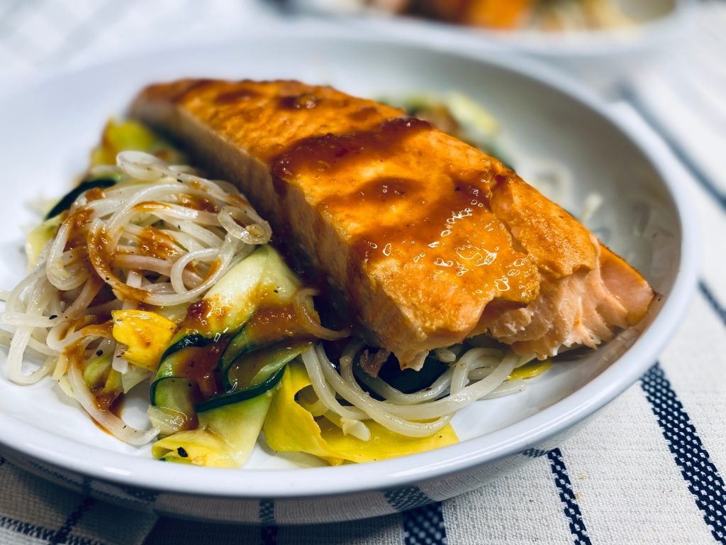 Thai salmon salad with rice noodles and squash