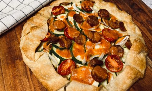 Sausage and veggie galette with tomato sauce