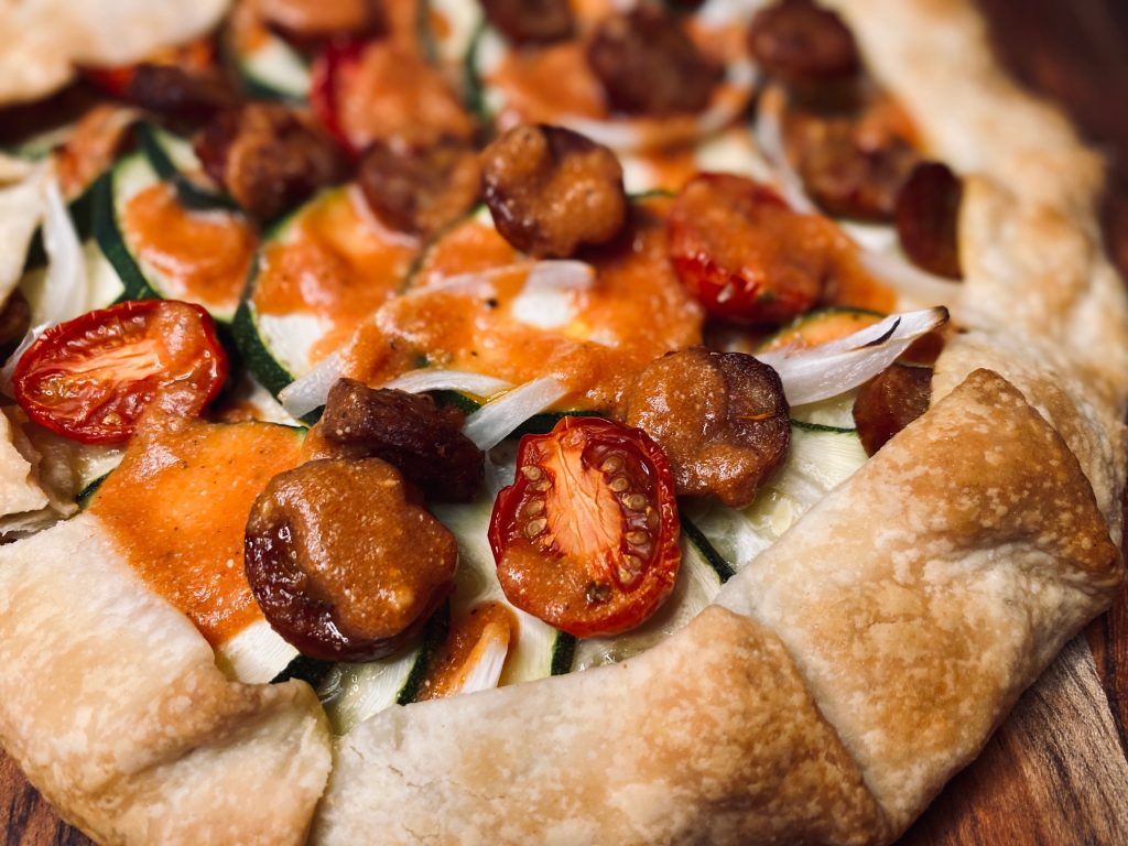 Veggie and sausage galette with ricotta