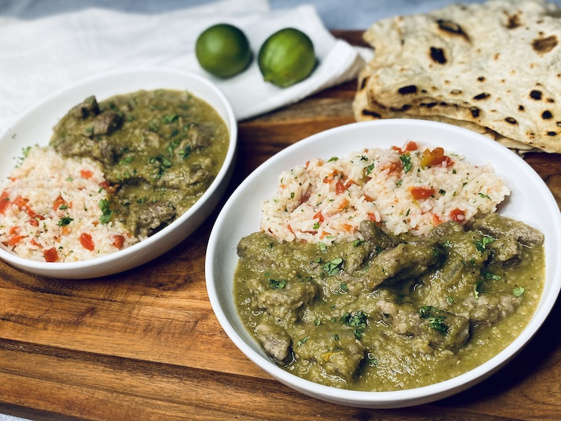 chili verde with rice