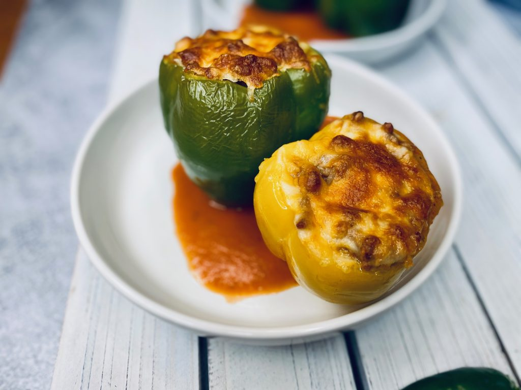 Two enchilada stuffed peppers
