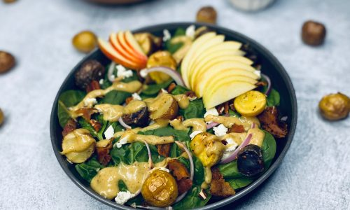 Fall harvest salad in a gray bowl