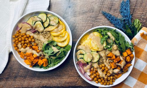Two bowls filled with fresh autumn and harvest veggies