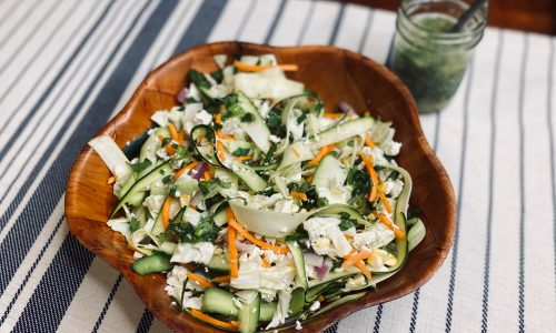 Shaved veggie salad with citrus basil dressing