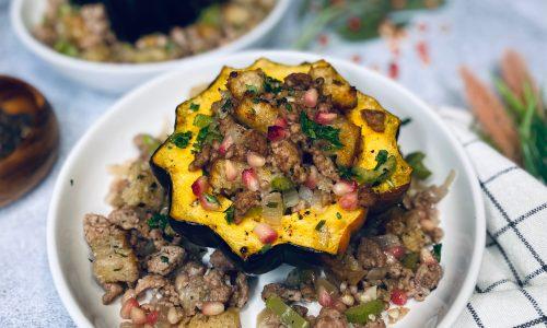 Acorn squash stuffed with pork stuffing