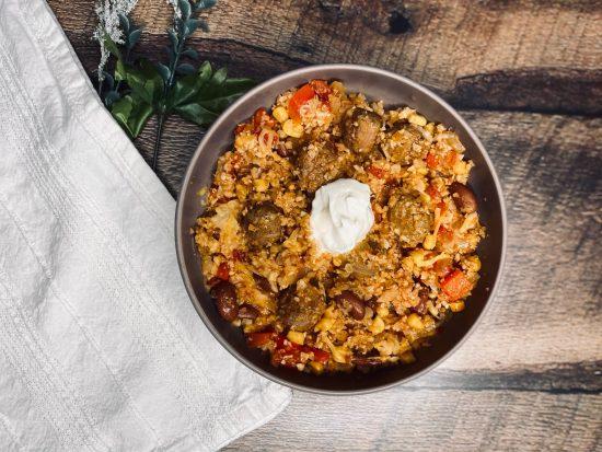 One Pan Chorizo Cauliflower Spanish Rice